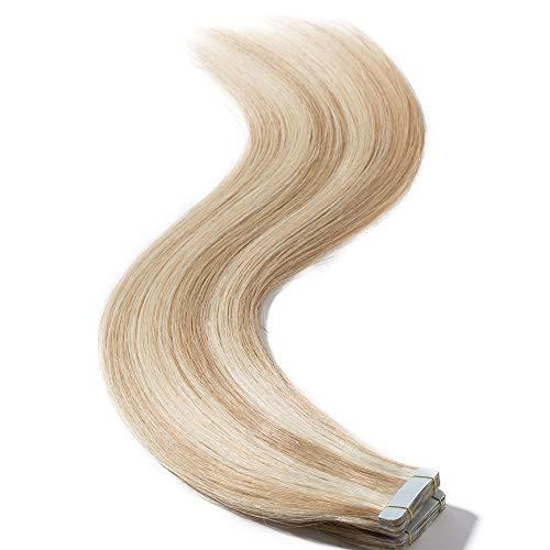 Extension biadesivo capelli veri 35cm 2g/fascia 20pcs - 100% remy human hair tape estensioni lisci(14