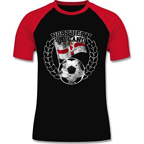 EM 2016 - Frankreich - Northern Ireland Flagge & Fußball Vintage - zweifarbiges Baseballshirt für Männer Schwarz/Rot