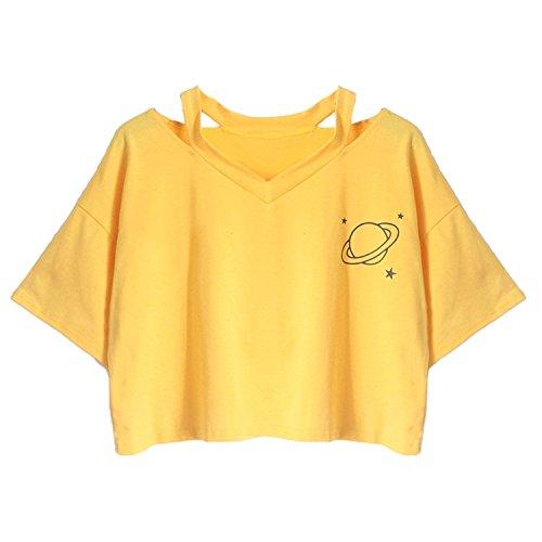 Minetom Crop Top Damen T Shirt Ananas Planet Stickerei Bluse Sport V-Ausschnitt Hemd Shirt Kurzarm Lässiges Oberteil Pullover Sommer Tops B Gelb DE 36