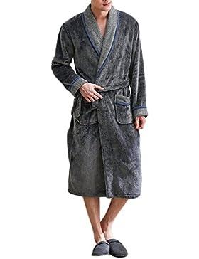 PFSYR Camisón de franela, pijama de los hombres Cómodo albornoz cálido Ropa de casa