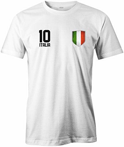 WM 2018 - ITALIA 10 WAPPEN - ITALIEN - HERREN - T-SHIRT Weiß