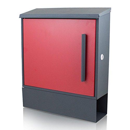 BITUXX® Wandbriefkasten Design Briefkasten Postkasten Dunkelgrau mit Zeitungsfach Roter Front Schloss seitlich