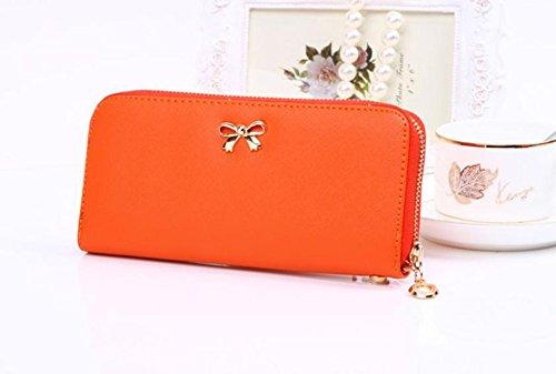 Distinct® Frizioni lungo portafoglio moda PU cuoio carino Bowknot portamonete donna (giallo) Orange