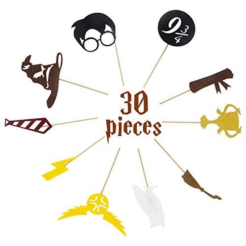 30 Pack für Harry Potter inspiriert Cupcake Toppers für Harry Potter Wizard Geburtstagsparty Dekorationen liefert Hogwarts Party Decor mit 10 Verschiedenen Elementen von Harry Potter ()