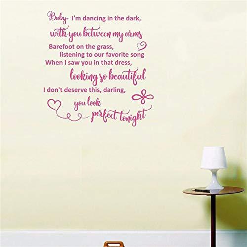 yiyiyaya Perfekte Ed Sheeran Liebeslied Lyrics Hochzeit Wandkunst Wohnkultur Aufkleber Zimmer Abnehmbare Kunstwand Innendekoration 58 * 61 cm (Lyrics Dieses Halloween)