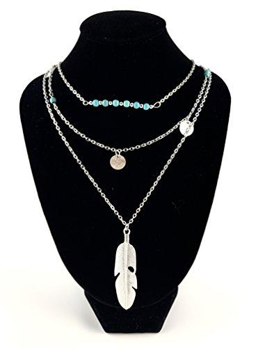 GOOD.designs mehrschichtige Multi Layer Halskette für Frauen, vergoldete Festival Ketten mit verschiedenen Anhänger (Silber / (Besten Festival Outfits)