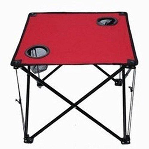 RUNDESHEBEI Y & M Bâche extérieur Pliable Pieds Table Portable Table ou Pique-Nique Plage de Stand de Table Patio Une Petite Table carrée Rouge