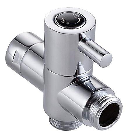 2voies de douche Bras inverseur, outowin 1/5,1cm IPS en laiton de salle de bain universel Système de douche à main de rechange pour pomme de douche fixe et douchette (Chrome poli)
