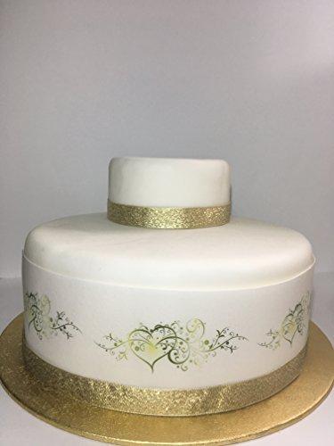 Essbares Deko-Glasurblatt zum Thema Hochzeit, Liebe, Borte für Kuchen der Größe 17,8 – 20,3cm –zur Dekoration Ihres Kuchens - einfach...