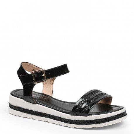 Ideal Shoes - Sandales vernies et effet pailletées avec semelle en gomme Andréane Noir