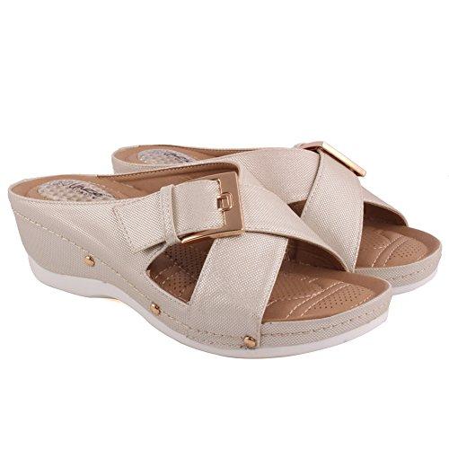 Unze Damen Damen 'Bosnier' Buckle Strap Bequeme Open Toe Slip Auf Low Heeled Casual Slipper Schuhe Größe 3-8 - 0385-1 Weiß
