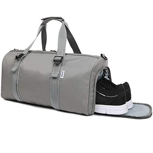 Oflamn borsa da viaggio in tela per donna e uomo - borsa da palestra sportiva con scompartimento scarpe - sports gym bag (1.0 grigio)