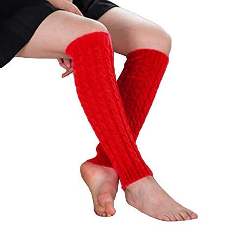Berknie KniestrüMpfe Lange Damen Knie Struempfe Winter Knit BeinwäRmer Frauen Boot Abdeckung Strickstulpen HäKeln Stiefelsocken (rot) ()