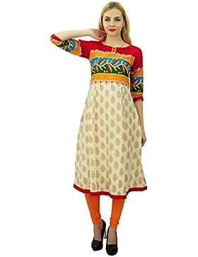 Phagun Paisley diseñador de las mujeres vestido de algodón ocasional Kurta étnico Anarkali Kurti