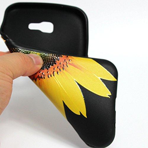 Linvei Samsung Galaxy A3(2017) Etui Cuir Coque,[Conception de motif coloré][PU Cuir Housse][Portefeuille Flip][Stand soutien/Card Slot /fermeture magnétique]-Plante tropicale verte Design demi-tournesol jaune