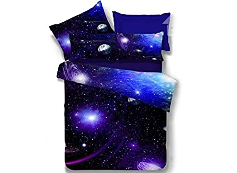 King Size Charming Blue Galaxy Print Polyester 4-Piece Duvet Cover Sets
