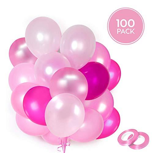 100 palloncini rosa in lattice + nastro rosa + supporti + adesivi da muro per palloncini   5 colori misti   pink party, matrimonio, battesimo e compleanno   30 cm   elio o aria