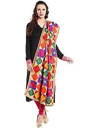 Dupatta Bazaar Woman's Multicoloured Phulkari Embroidered Chiffon Dupatta