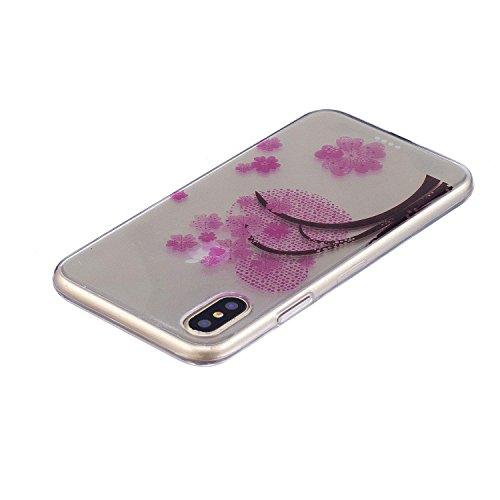 iPhone X Hülle, Voguecase Silikon Schutzhülle / Case / Cover / Hülle / TPU Gel Skin für Apple iPhone X(Blau Schmetterling 18) + Gratis Universal Eingabestift Kirschblüten 06