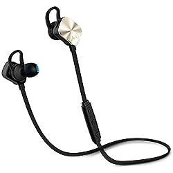 [2016Nueva Versión] Bluetooth auriculares deportivos, Mpow y # 174; Inalámbrico Bluetooth 4.1deporte auriculares con micrófono para correr para iPhone Samsung etc., (no magnético Control) -Golden