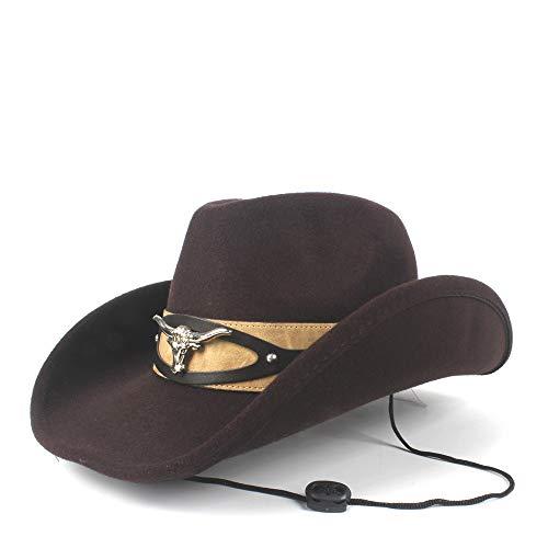 n Männer Raffinierte Wolle Westerly Cowboy Kuhkopf Winter Cowgril Hut Filz Fedora Hut (Farbe : Braun, Größe : 56-59cm) ()