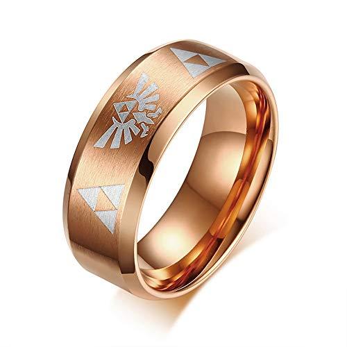 Herren Ring,Laser Design Ring Legende Von Zelda Männer Edelstahl Abgeschrägte Hochzeit Band Rose Gold Farben Rüde Modeschmuck, 7. (Männer Band Gold Hochzeit Rose Für)