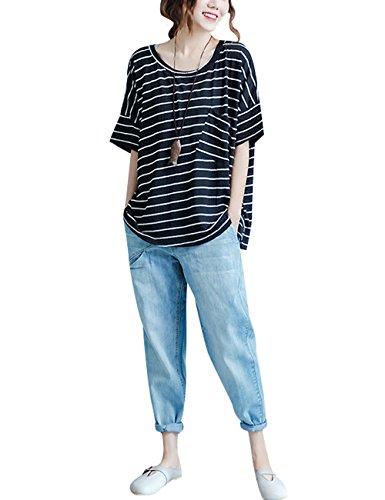 Youlee Frauen Hohe Taille Denim-Hose Baumwolle Jeans mit Taschen Style 2