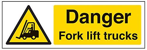 vsafety 64010–Schaukelgestell ax-r Gefahr Gabel Lift Trucks Warnung Fahrzeug-Zeichen, starrer Kunststoff, Landschaft, 300mm x 100mm, schwarz/gelb