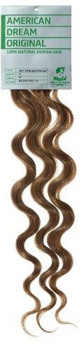 American Dream - A4/QFC12/18/12 - 100 % Cheveux Naturels - Douce Ondultation - Pièce Unique Extensions à Clipper - Couleur 12 - Brun Doré - 46 cm