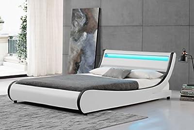 Cherry Tree Furniture HEKA Designer LED Light Headboard Faux Leather Upholstered Bed Frame Bedstead - inexpensive UK light shop.