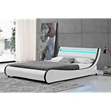 Cherry Tree Furniture HEKA Designer LED Light Headboard Faux Leather Upholstered Bed Frame Bedstead (4FT6 DOUBLE)
