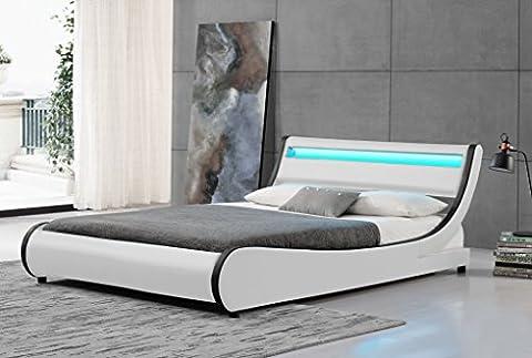 Cherry Tree Furniture HEKA Designer LED Light Headboard Faux Leather Upholstered Bed Frame Bedstead (4FT6
