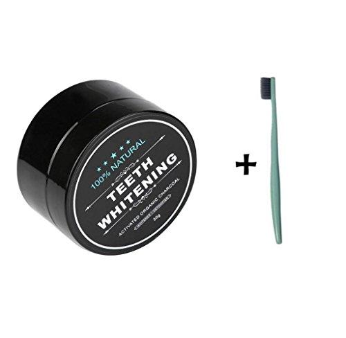 Zahnpulver Amcool Teeth Whitening Powder Natürliche Organische Aktivkohle Bambus Zahnpasta + Zahnbürste