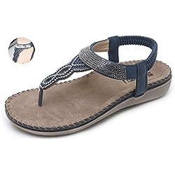 Yooeen Sandalias Planas Mujer Verano Elegante Sandalias de Vestir Moda Boho Rhinestone Abalorios Clip Toe Sandalias Cómodo Elástico T-Correas Chanclas Zapatos de Playa Talla Grande 35-45