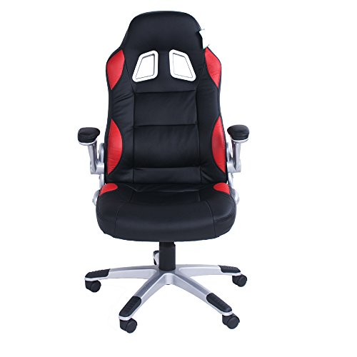 Swivel desk chair executive office chair black ergonomic tilt function leather padded Computer PC gaming chairs adjustable height armchair (Black)