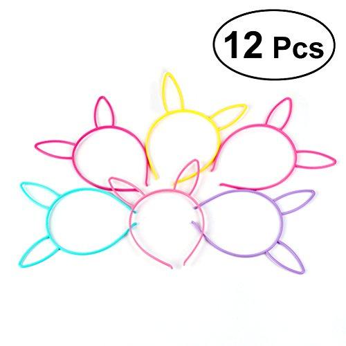 12 stücke Lustige Nette Häschenohren Stirnband Neuheit Party Haarband Headwear Für Kinder Mädchen (Gelb, Bule, Lila, Rosy, Wassermelone Rot, ()