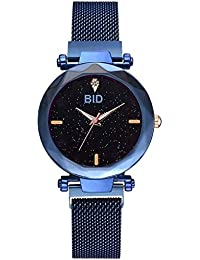 BID Luxury Mesh Magnet Buckle Starry Sky Quartz Watches for Girls Fashion Clock Mysterious Black Lady Analog Watch - for Girls