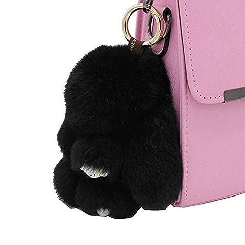 80Store Neuester Weihnachtsgeschenk Faux Pelz Nette Mini Kaninchen Puppe Keychain Auto Schlüsselring Frauen Beutel Charme Handtaschen Anhänger 13CM (schwarz)