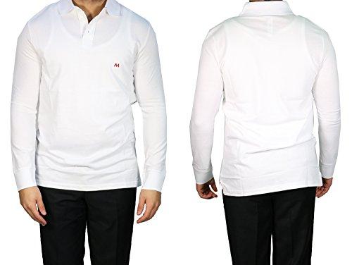 MMUGA Langarm Herren Poloshirt muga Weiß