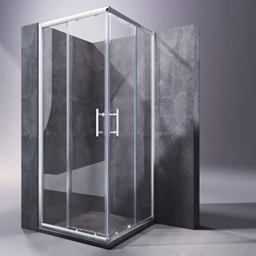 Duschkabine 80x80x185cm Eckeinstieg Duschabtrennung Doppel Schiebetür Echtglas