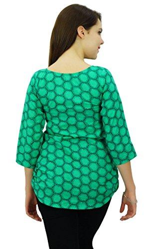 Phagun Imprimé Géométrique Femmes Casual Wear 3/4 Manches Courtes En Coton Kurti Vêtements Teal vert et bleu royal