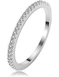 Daesar Joyería Anillo Compromiso de Plata Mujer, Diamantes Imitación de Pavé Anillo de Eternidad