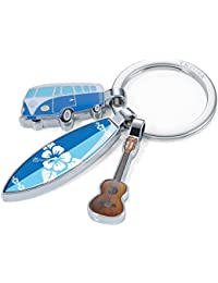 TROIKA SURFMATE T1 - KR16-14/CH - Nostalgic VW keyring with 3 charms - VW Camper, surfboard, guitar - shiny - multicoloured - Official licensed by VOLKSWAGEN - TROIKA Original