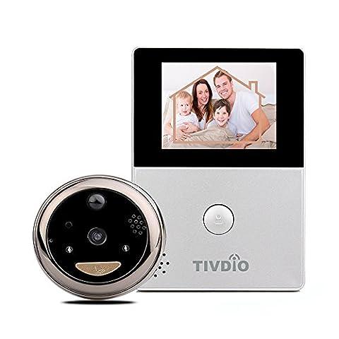 Tivdio T-12D WiFi Visiophone Sonnette de Porte Interphone Vidéo acec Caméra de Vision Nocturne Infrarouge HD Moniteur d'écran OLED (Argent)