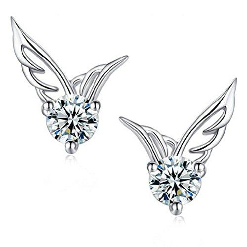 1 4-ring-diamant-herz (lucklystar®-Ohrringe Herz Diamant Schmuck Mode Geschenk für Valentinstag, Muttertag, Geburtstag, Neues Jahr etc)