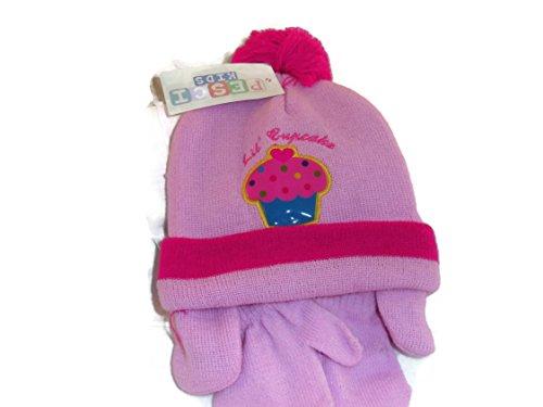 Chapeau et Mits Lot avec oreilles (Word et motif du Cupcake) Couleur Vieux  rose c50c5ff7517