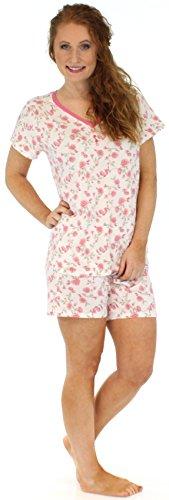 Sleepyheads Ensemble de pyjama femme à manches courtes et short coton vêtement de nuit Roses Roses Transparentes
