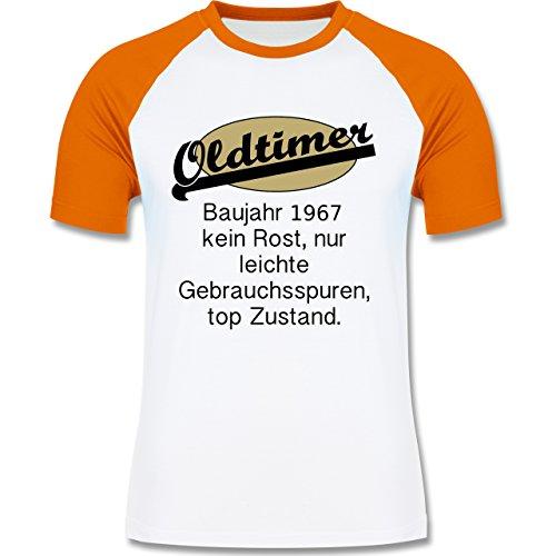 Geburtstag - 50. Geburtstag Oldtimer Fun Baujahr 1967 - zweifarbiges Baseballshirt für Männer Weiß/Orange