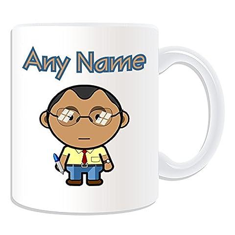 Personalisiertes Geschenk–Lehrer Stecker Tasse (Karriere Design Thema, weiß)–Jeder Name/Nachricht auf Ihr Einzigartiges–Schule Office Gläser Klasse schwarz asiatischen (Besatzung Glas)