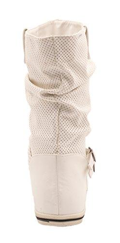Elara Flache Damen Schlupfstiefel bequeme Stiefel Boots Weiß